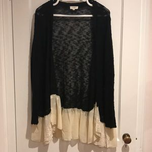 Sheer black cardigan with Ivory lace detail.